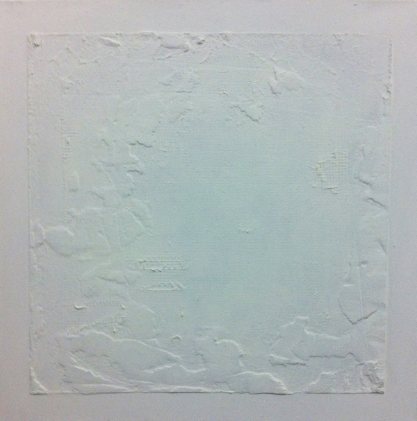 2012, Untitled, 40x40 cm, acrylic, fabric net and concrete on canvas